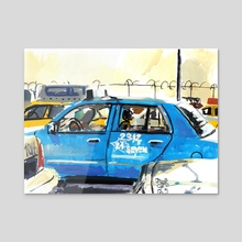 O'Hare Taxi Staging Area #22 - Acrylic by Dmitry Samarov