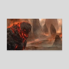 Duels Of The Planeswalkers 2014 - Obsidian Lava Mage - Canvas by Brad Rigney