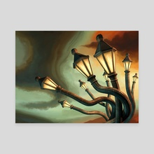 Drunk Streetlamps - Canvas by Remus Brailoiu