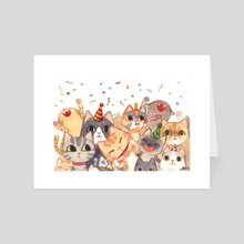 Cat Party - Art Card by Angie Hu