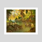 Boulder Creek (North of Santa Cruz, CA) by V.P. Shkurkin - Art Print by Katya Shkurkin