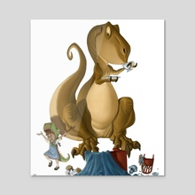 The Terrible T-Rex Tea Party - Acrylic by Harrison Pyle