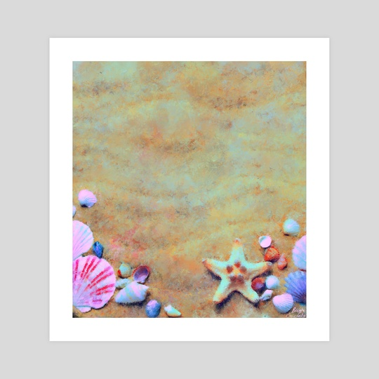 Summer Sand & Shells Expressionist Painting by Bridget Garofalo