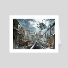 Electrified Apocalyptic Guard Tower - Art Card by Andrew Gaia