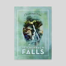 Greetings from Reichenbach Falls - Canvas by Rebecca Flaum