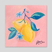 Little Lemons - Acrylic by Tara Jean Art