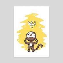 Monkey Banana - Canvas by Indré Bankauskaité