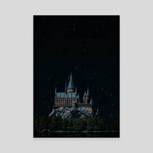 Hogwarts at night  - Canvas by Harsh Aaryan