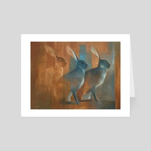 hares in summer - Art Card by Eugenio Chellet