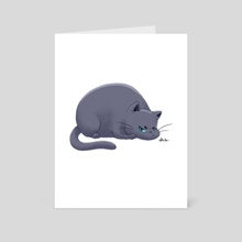 Fat Grumpy Cat - Gray - Art Card by Sara Kuba
