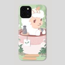 Alpaca in a Gobocha Bath - Phone Case by kitschchris