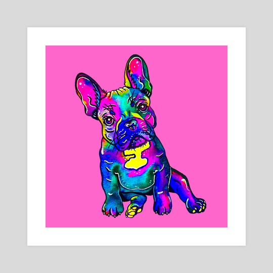 Colorful French Bulldog on Pink by Zaira Dzhaubaeva