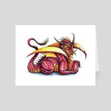 Garnet Dragon - Art Card by Delyth Thomas