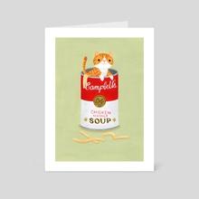Kitten Noodle Soup - Art Card by Nellie Le