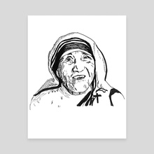 Mother Theresa - Canvas by Dafina Dervishi