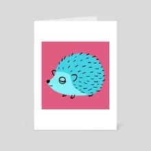 Teal Hedgehog - Art Card by Chamisa Kellogg