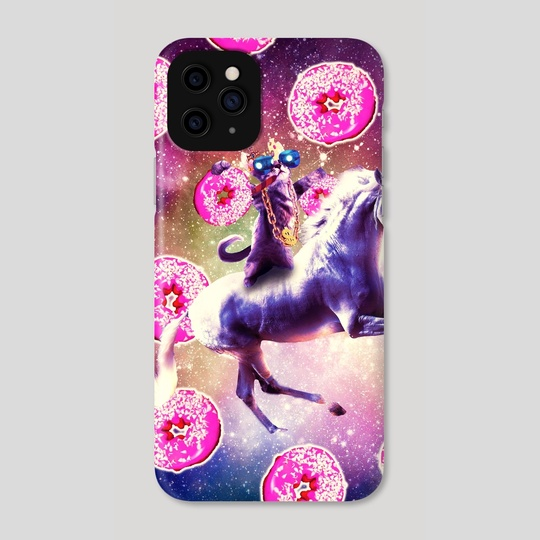 Thug Space Cat On Unicorn Donut A Phone Case By Random Galaxy Inprnt