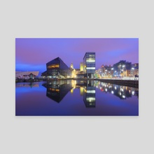 Dockland  Reflections - Canvas by Michael Walsh