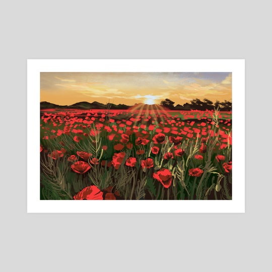 Golden Hour on a Poppy Field by victoria lee