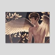 Golden Angel - Acrylic by Ester Zejn
