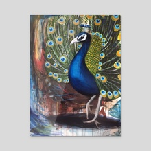 Male Peacock - Acrylic by Jewels Foster Rogers