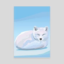 Arctic Fox - Endangered Animal - Canvas by Nina Pancheva