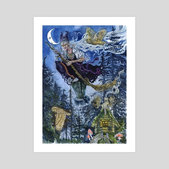 Baba Yaga, the witch of the forest by Natalia Mikhalchuk