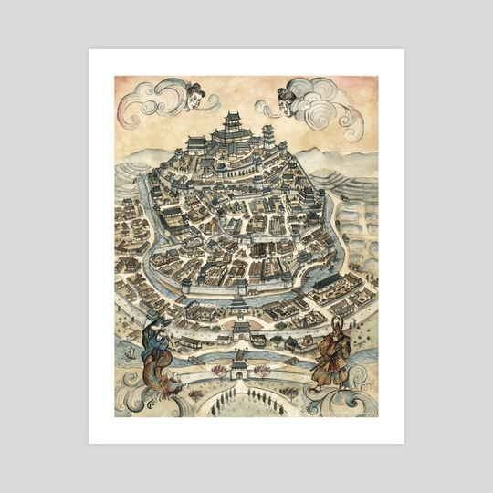 Legend of the Five Rings - Peaceful Hill City by Francesca Baerald