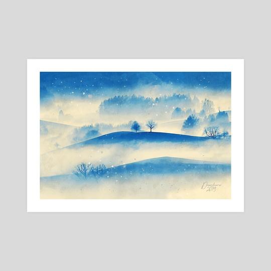 Misty Hills - Mixed Media by Dreamframer Art