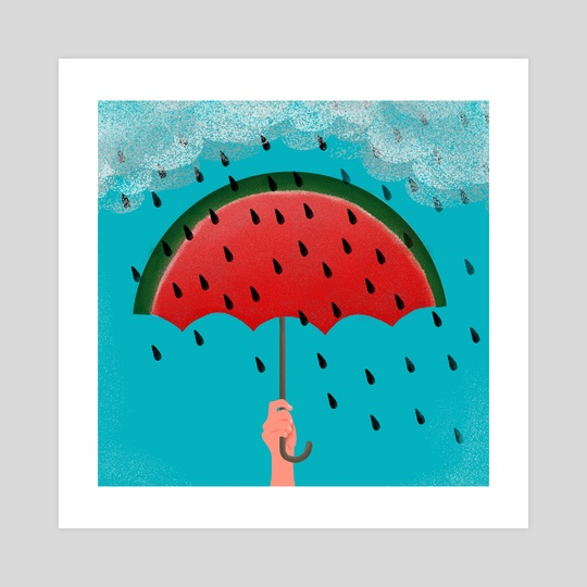 rain watermelon by Lucia Calfapietra