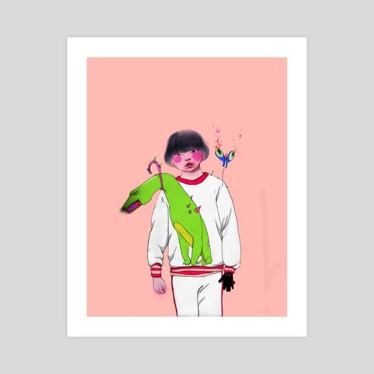 Smelling green-colour lemon  by Arassay  Hilario