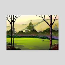 Village Haven - Canvas by Tom Carlos