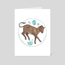 Eohippus angustidens with aquamarine - Art Card by Alisa B.