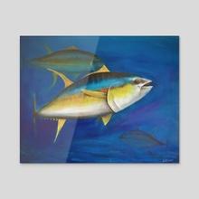 Yellowfin tuna  - Acrylic by Ronald Zeman