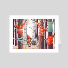 Kitting for Trees - Art Card by Lucy Fleming