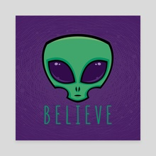 Believe Alien Head - Canvas by John Schwegel