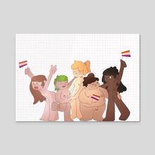 Lesbian Pride - Acrylic by Lou Stanton