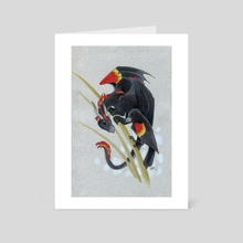 Red Wing Black Dragon - Art Card by Diana Stein
