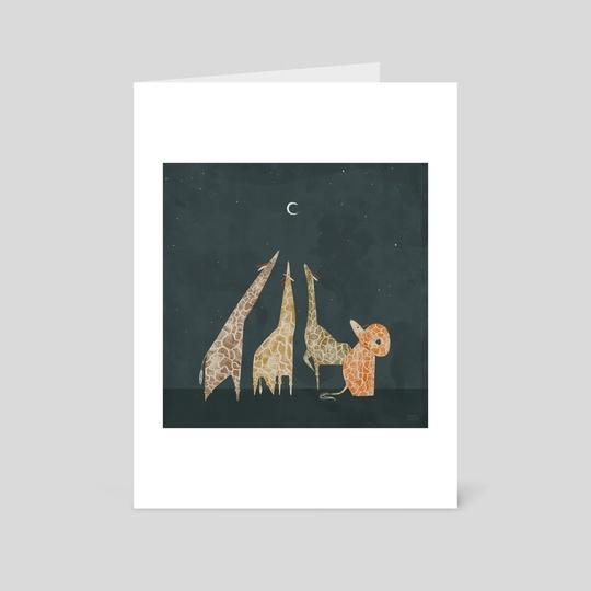 Giraffe & Moon 1 by Sarah Kurpiel