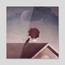 Twin Moon - Acrylic by Annisa Tiara Utami
