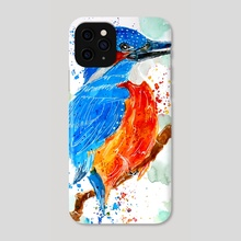 Kingfisher Waiting for Prey - Phone Case by Sebastian Grafmann