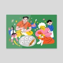 Multigenerational Family - Acrylic by Subin Yang