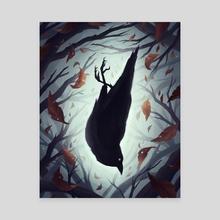 Crow - Canvas by Kayla  Kowalyk
