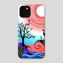 Flamingo Family - Dreamy Nights - Phone Case by Shape Shifter