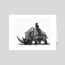 wooly rhino cowboy - Art Card by Shaun Keenan