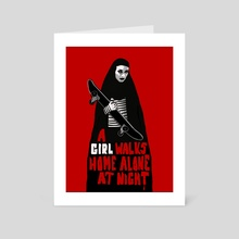 A Girl Walks Home Alone At Night - Art Card by Daniel Rodrigues
