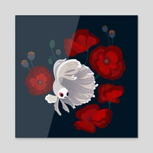 Betta and Poppies 2 - Acrylic by pikaole