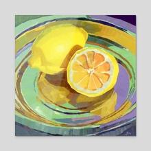 Lemons on a Metal Plate - Acrylic by Gia
