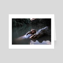 Falling down in inner darkness - Art Card by Antonio Borzillo
