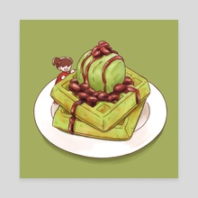 Waffle - Green Party - Canvas by Gourmet Galleria